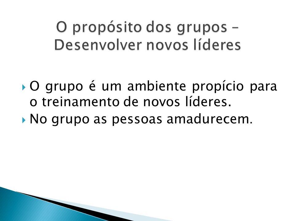 O propósito dos grupos – Desenvolver novos líderes