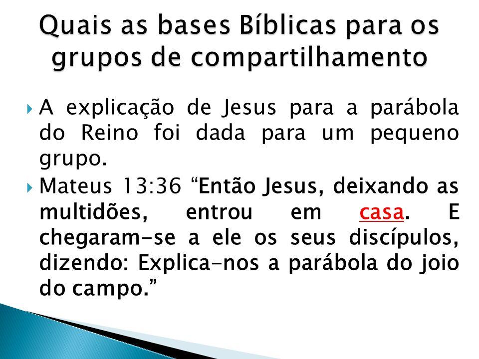 Quais as bases Bíblicas para os grupos de compartilhamento