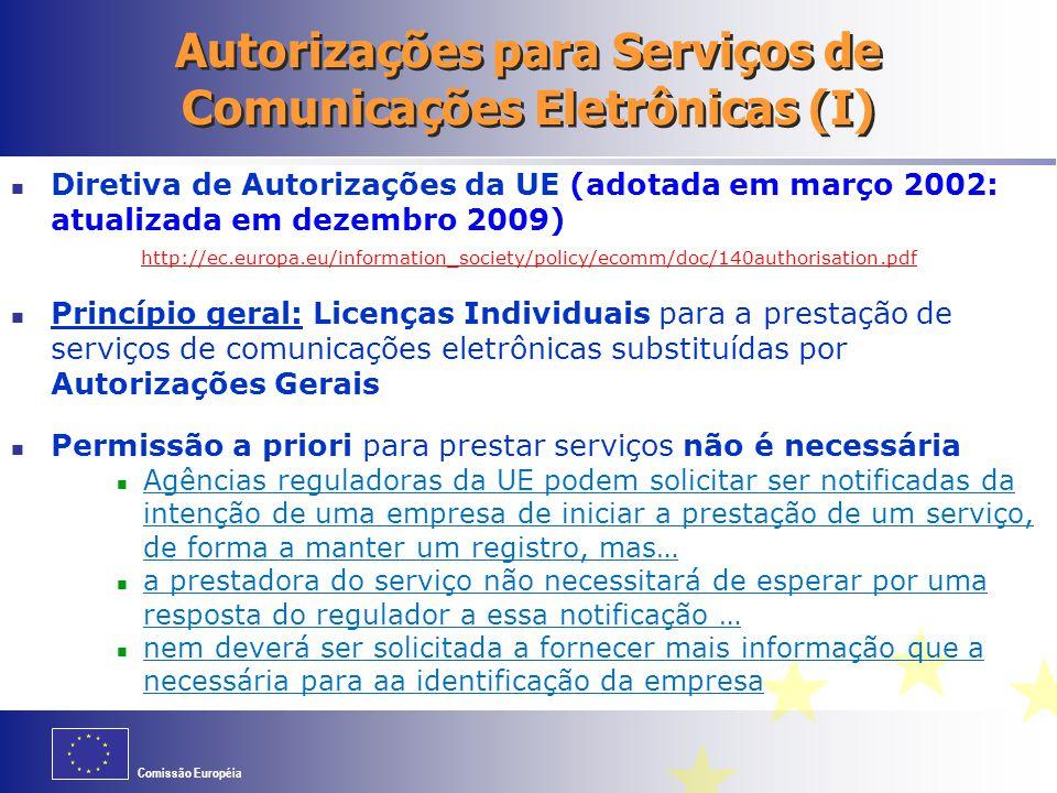 Autorizações para Serviços de Comunicações Eletrônicas (I)