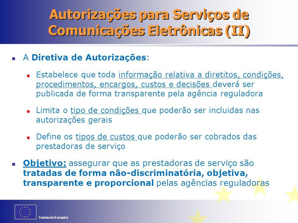 Autorizações para Serviços de Comunicações Eletrônicas (II)