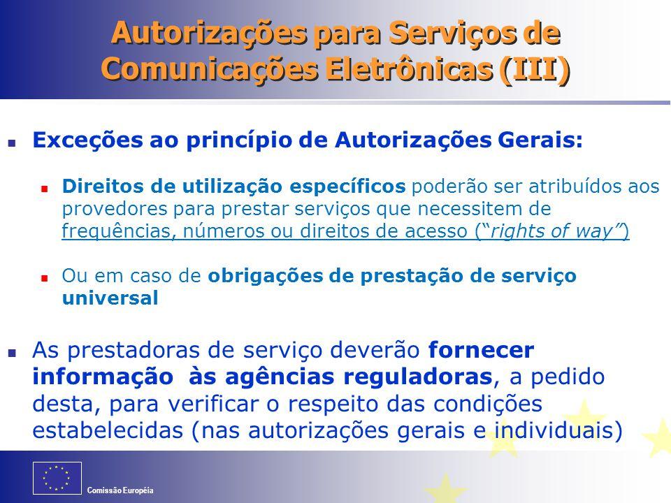 Autorizações para Serviços de Comunicações Eletrônicas (III)