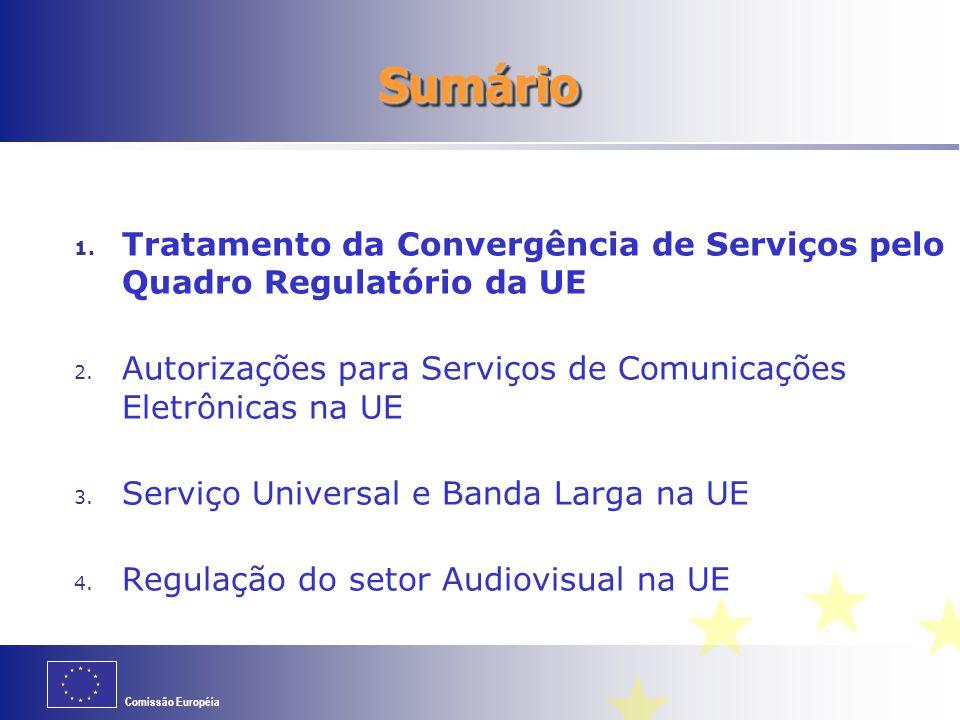 Sumário Tratamento da Convergência de Serviços pelo Quadro Regulatório da UE. Autorizações para Serviços de Comunicações Eletrônicas na UE.