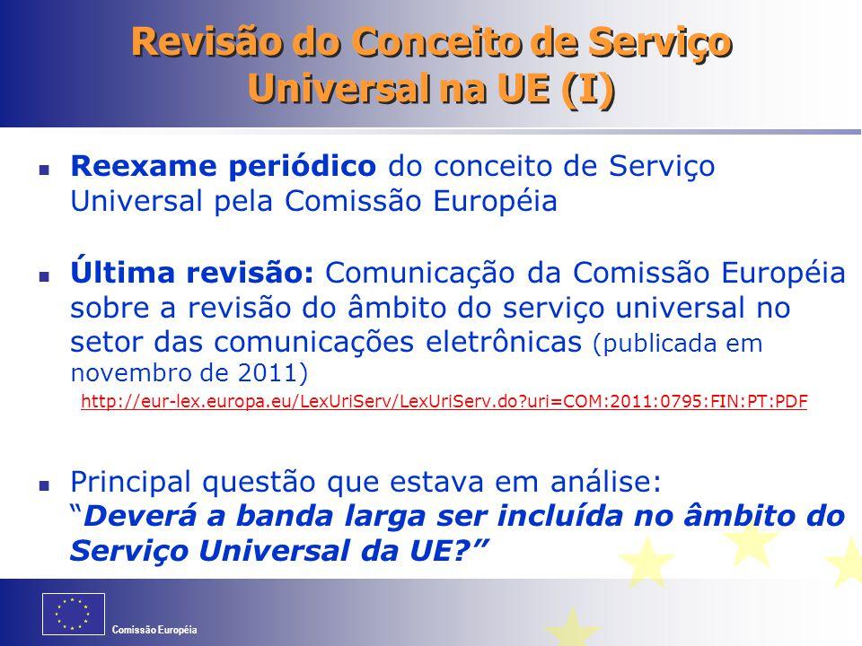 Revisão do Conceito de Serviço Universal na UE (I)