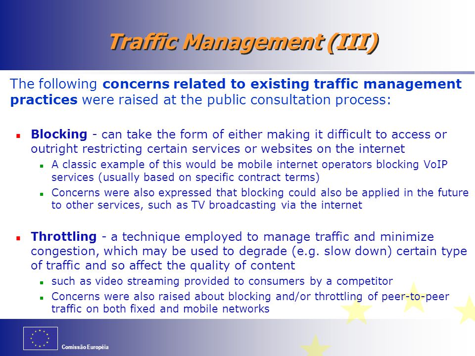 Traffic Management (III)
