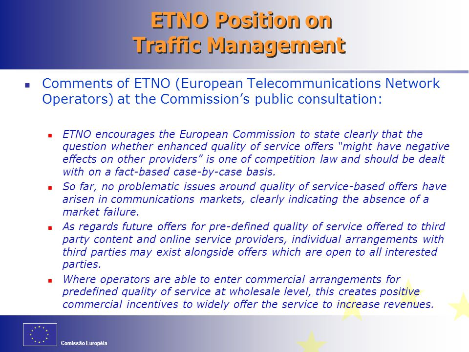 ETNO Position on Traffic Management