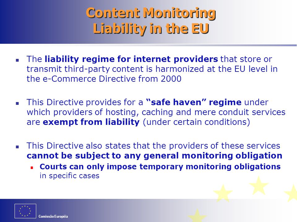 Content Monitoring Liability in the EU