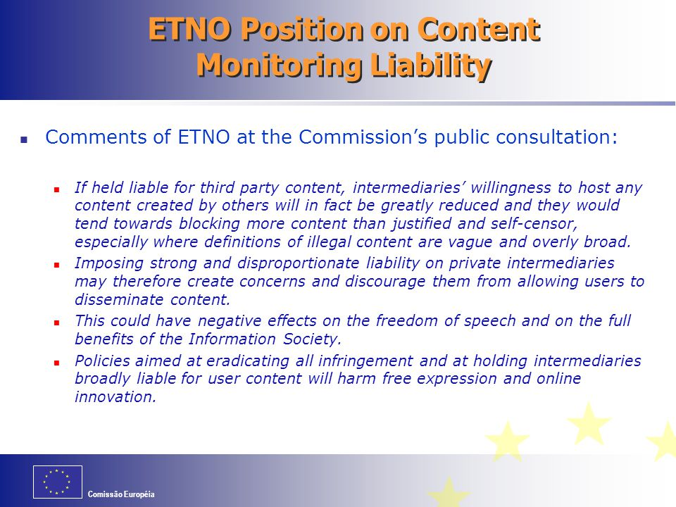 ETNO Position on Content Monitoring Liability
