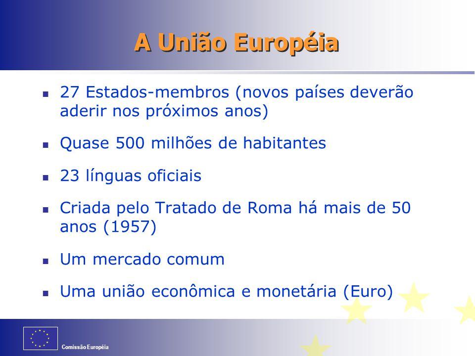 A União Européia 27 Estados-membros (novos países deverão aderir nos próximos anos) Quase 500 milhões de habitantes.