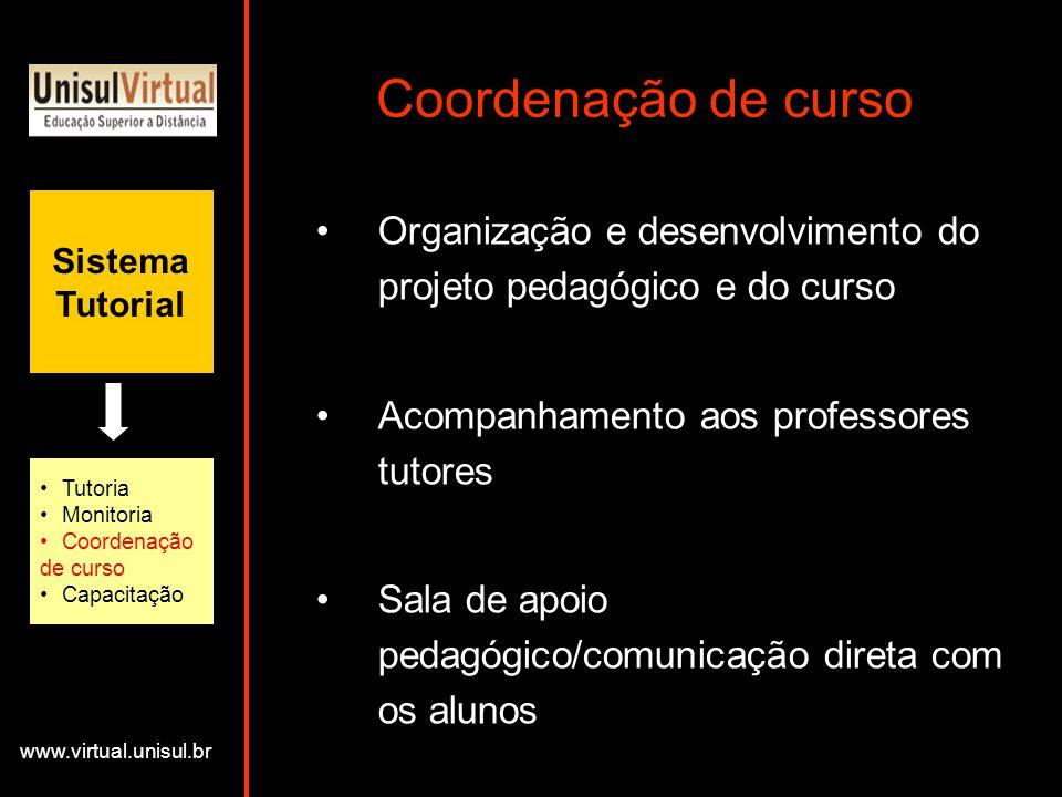Coordenação de curso Sistema. Tutorial. Organização e desenvolvimento do projeto pedagógico e do curso.