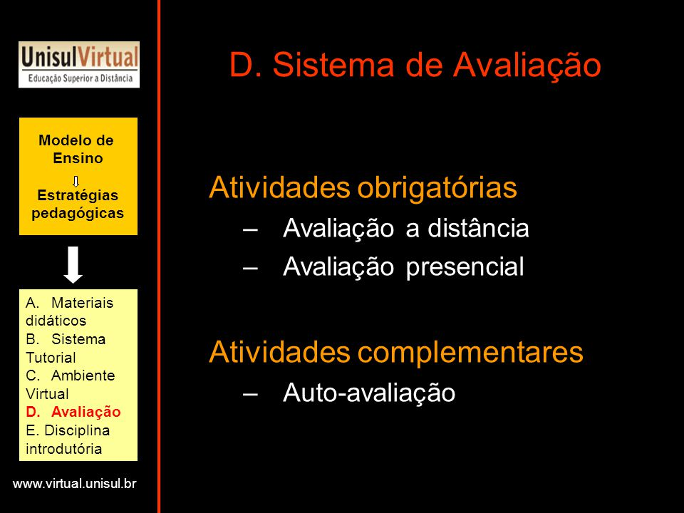 D. Sistema de Avaliação Atividades obrigatórias