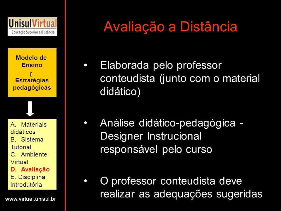 Avaliação a Distância Modelo de. Ensino. Estratégias. pedagógicas. Elaborada pelo professor conteudista (junto com o material didático)