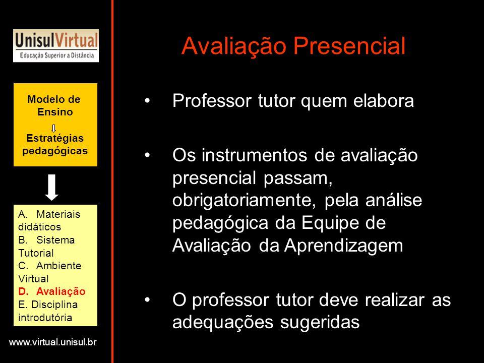 Avaliação Presencial Professor tutor quem elabora
