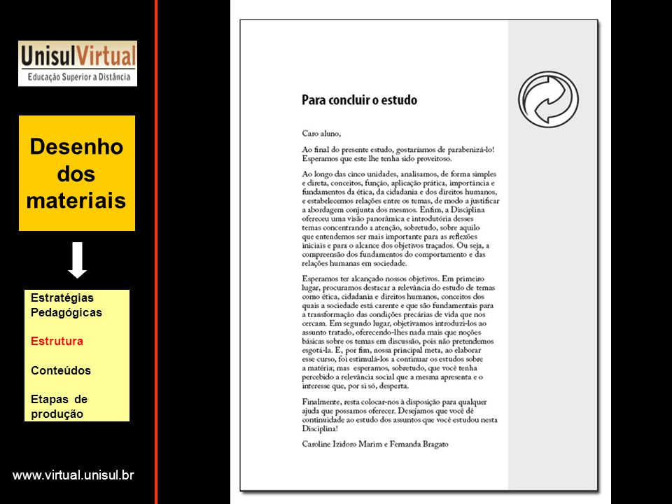 Desenho dos materiais www.virtual.unisul.br Estratégias Pedagógicas