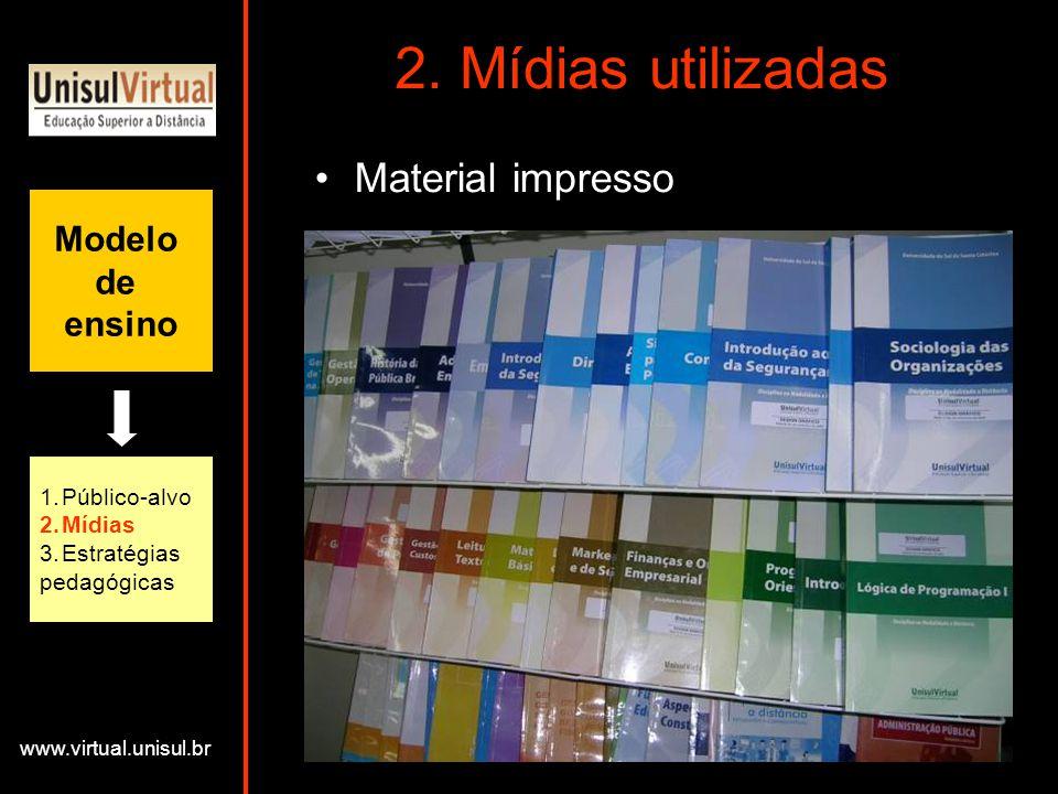 2. Mídias utilizadas Material impresso Modelo de ensino Público-alvo