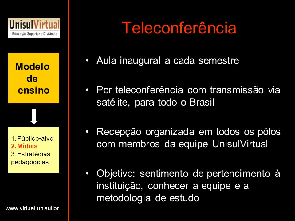Teleconferência Aula inaugural a cada semestre