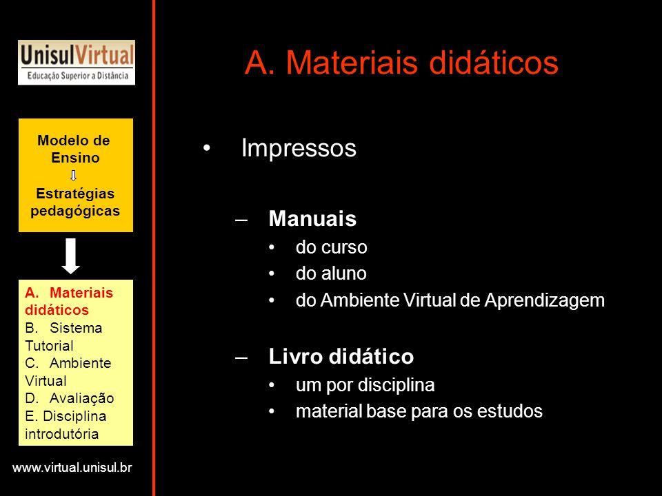 A. Materiais didáticos Impressos Manuais Livro didático do curso