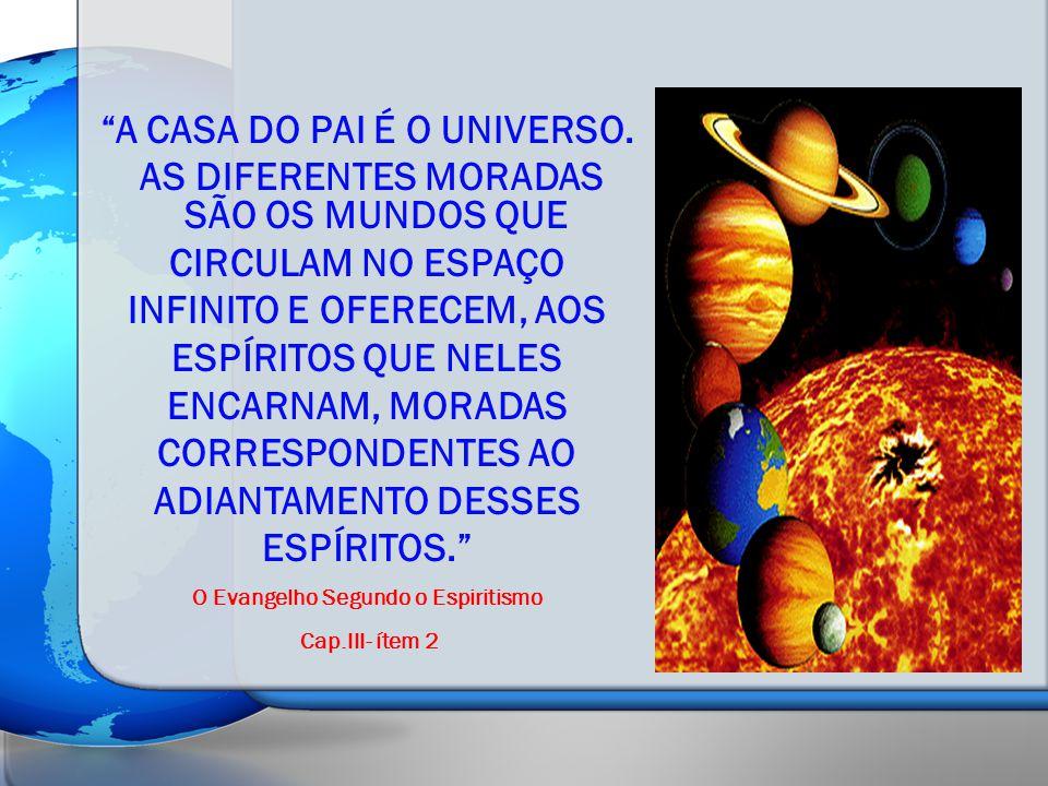 A CASA DO PAI É O UNIVERSO. AS DIFERENTES MORADAS SÃO OS MUNDOS QUE