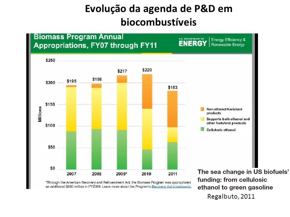 Evolução da agenda de P&D em biocombustíveis