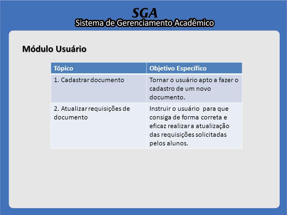 Módulo Usuário Tópico Objetivo Específico 1. Cadastrar documento