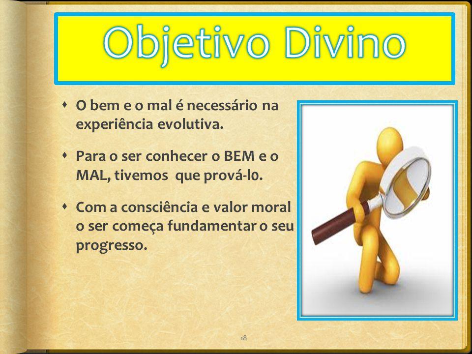 Objetivo Divino O bem e o mal é necessário na experiência evolutiva.