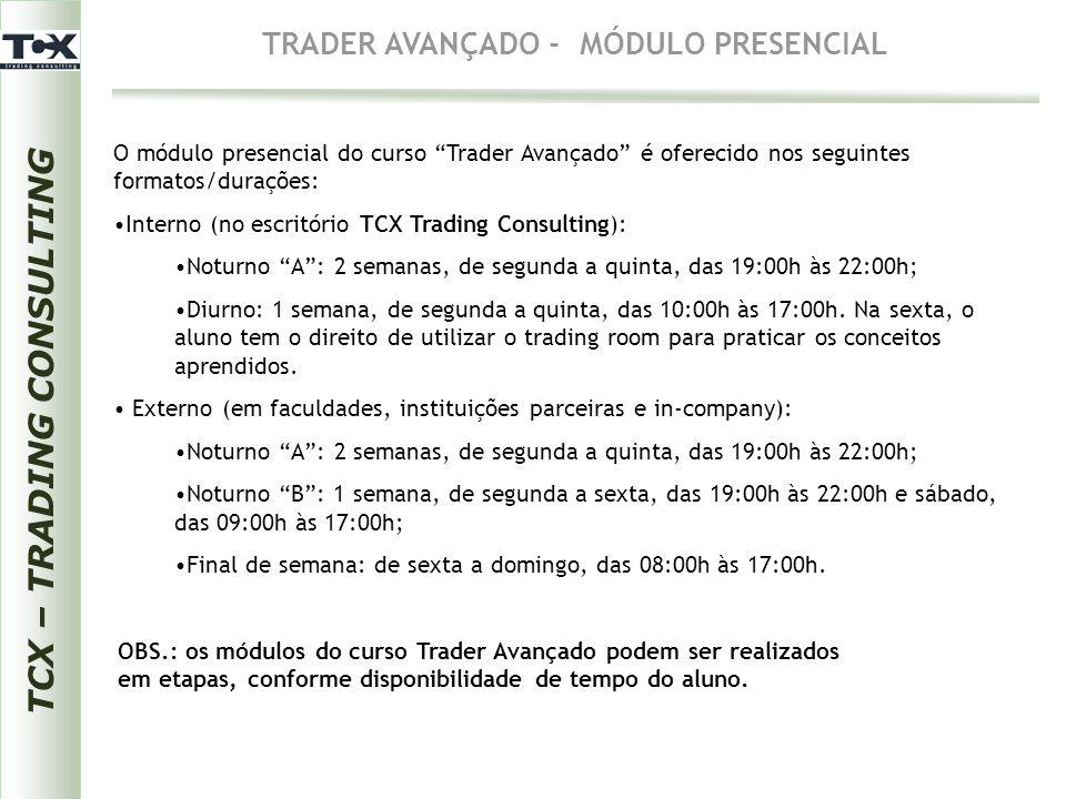 TRADER AVANÇADO - MÓDULO PRESENCIAL TCX – TRADING CONSULTING