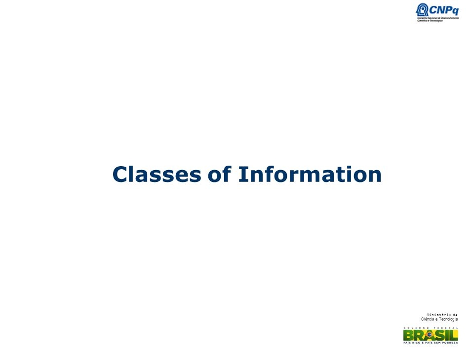 Classes of Information