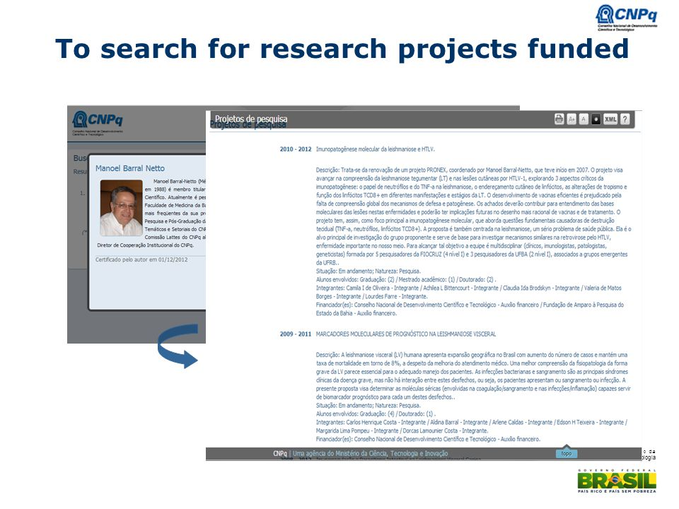 To search for research projects funded