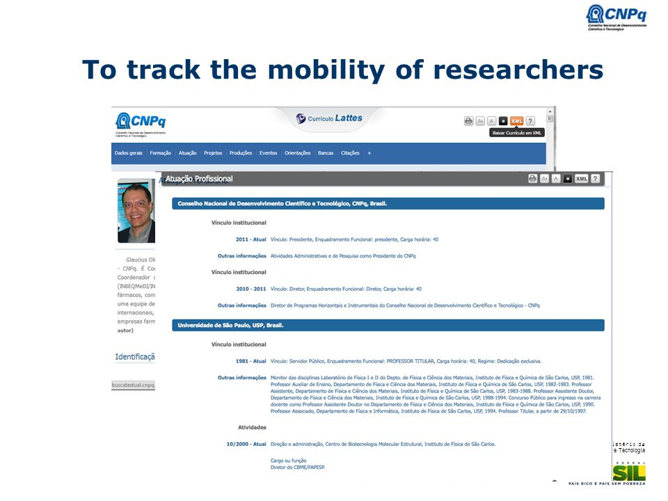 To track the mobility of researchers