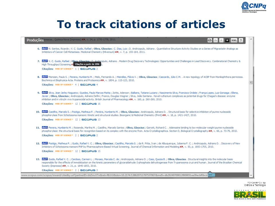 To track citations of articles