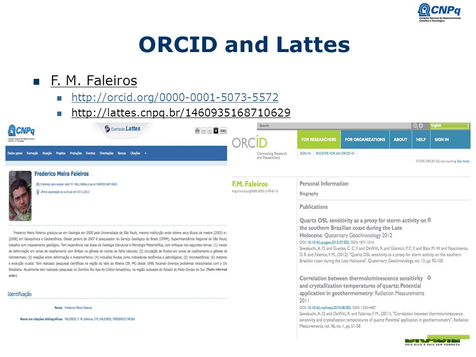ORCID and Lattes F. M. Faleiros http://orcid.org/0000-0001-5073-5572