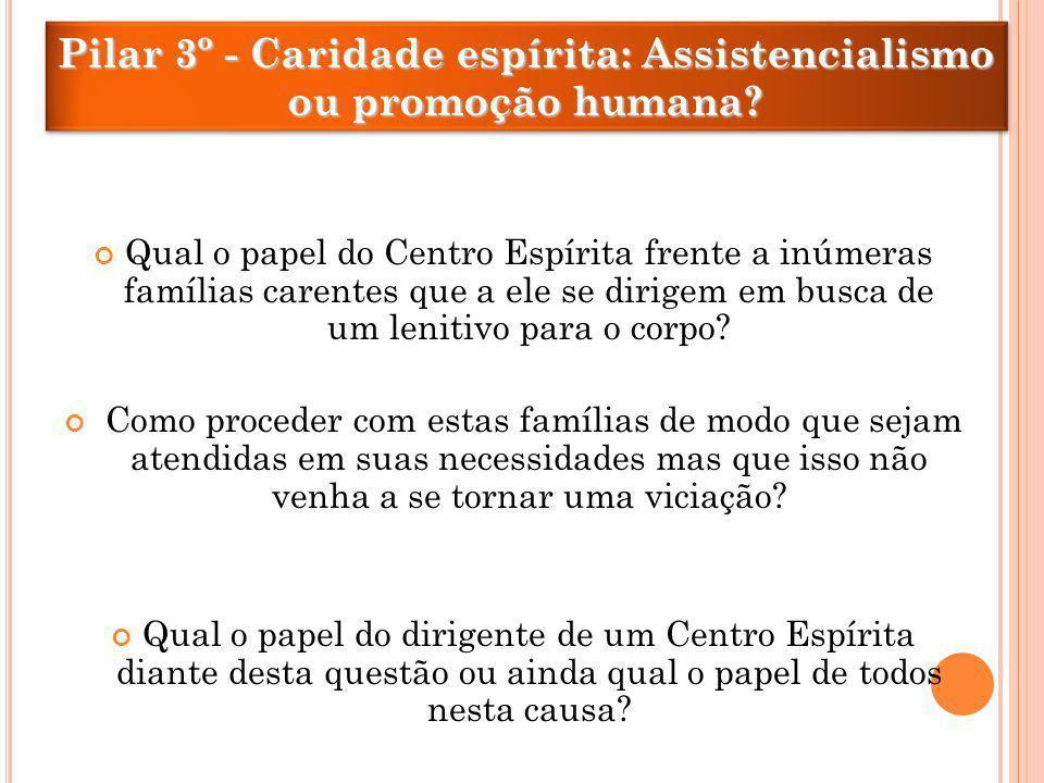 Pilar 3º - Caridade espírita: Assistencialismo ou promoção humana