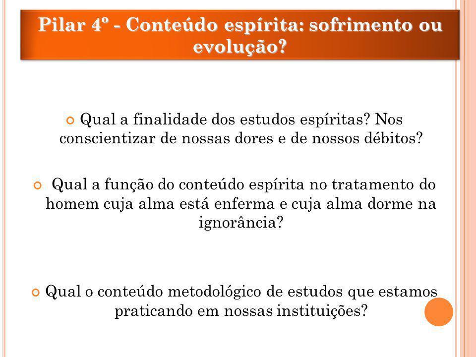 Pilar 4º - Conteúdo espírita: sofrimento ou evolução