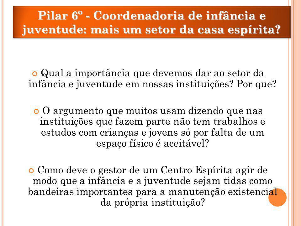Pilar 6º - Coordenadoria de infância e juventude: mais um setor da casa espírita