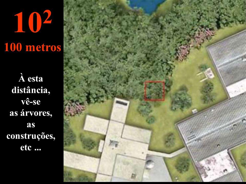 À esta distância, vê-se as árvores, as construções, etc ...