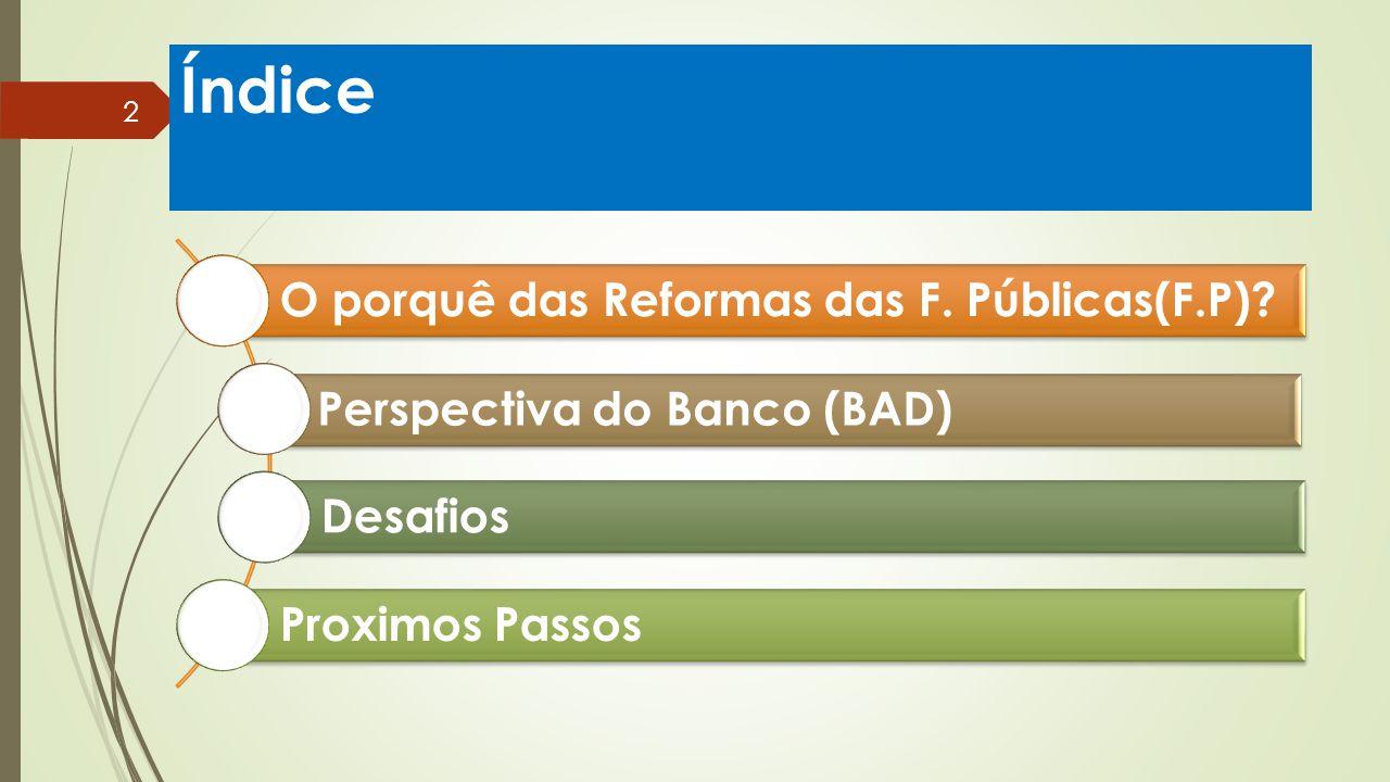 Índice O porquê das Reformas das F. Públicas(F.P)