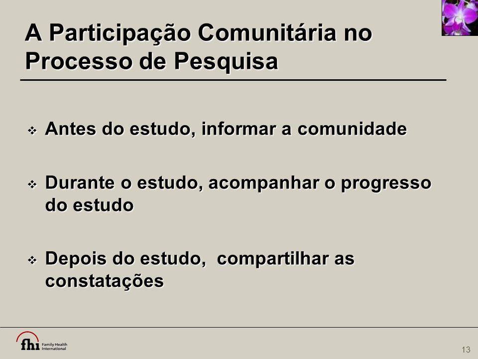 A Participação Comunitária no Processo de Pesquisa