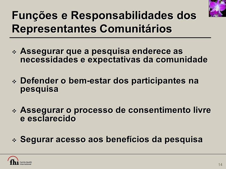 Funções e Responsabilidades dos Representantes Comunitários