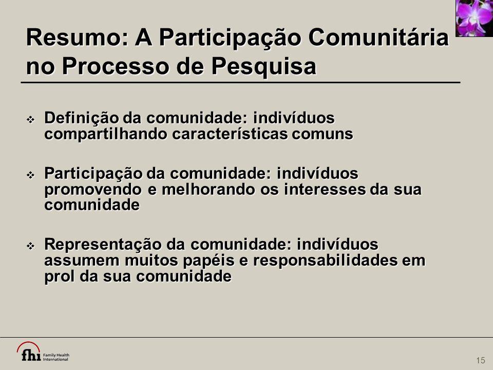 Resumo: A Participação Comunitária no Processo de Pesquisa