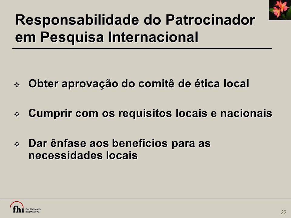 Responsabilidade do Patrocinador em Pesquisa Internacional