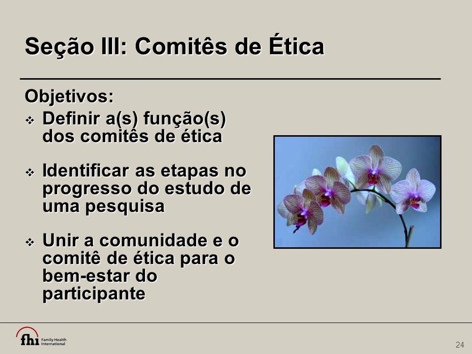 Seção III: Comitês de Ética