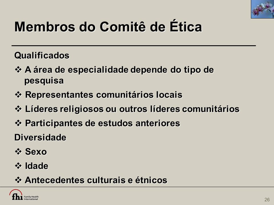 Membros do Comitê de Ética