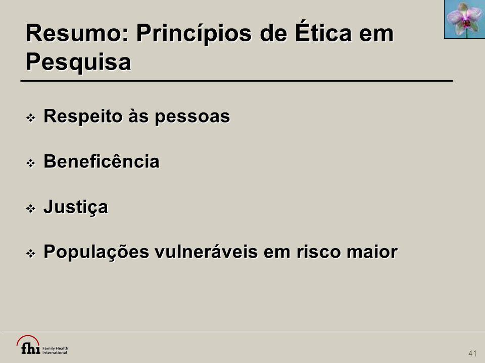 Resumo: Princípios de Ética em Pesquisa