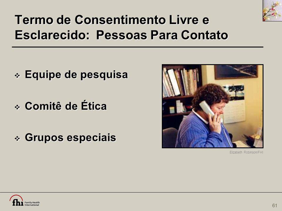 Termo de Consentimento Livre e Esclarecido: Pessoas Para Contato