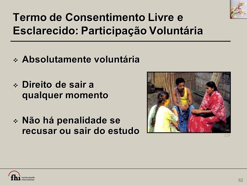Termo de Consentimento Livre e Esclarecido: Participação Voluntária