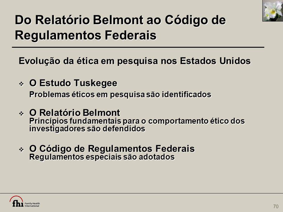 Do Relatório Belmont ao Código de Regulamentos Federais