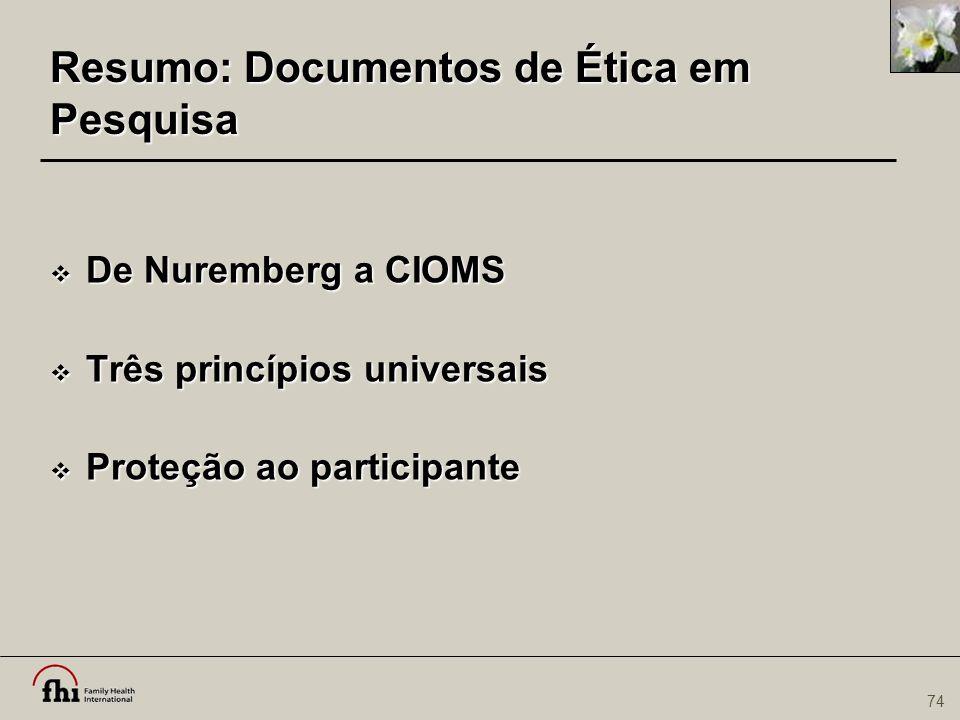 Resumo: Documentos de Ética em Pesquisa