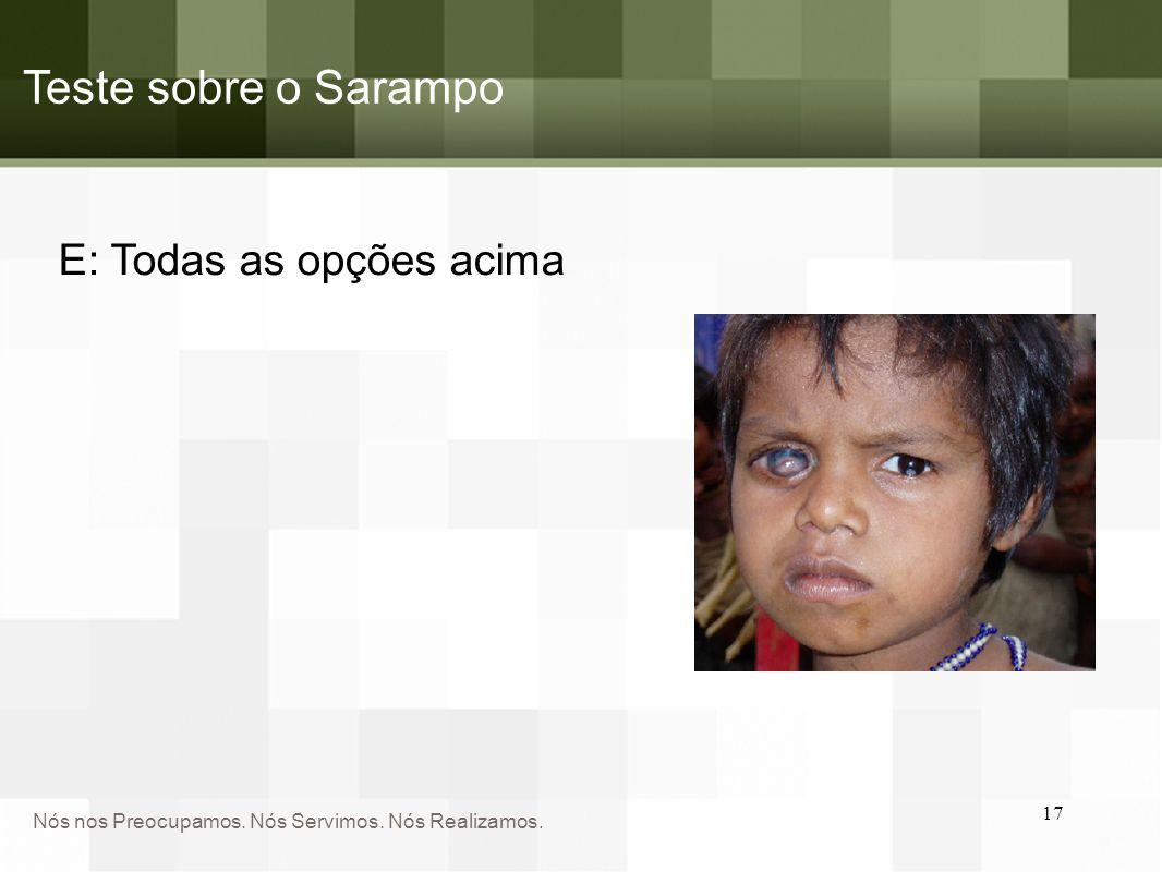 Teste sobre o Sarampo E: Todas as opções acima