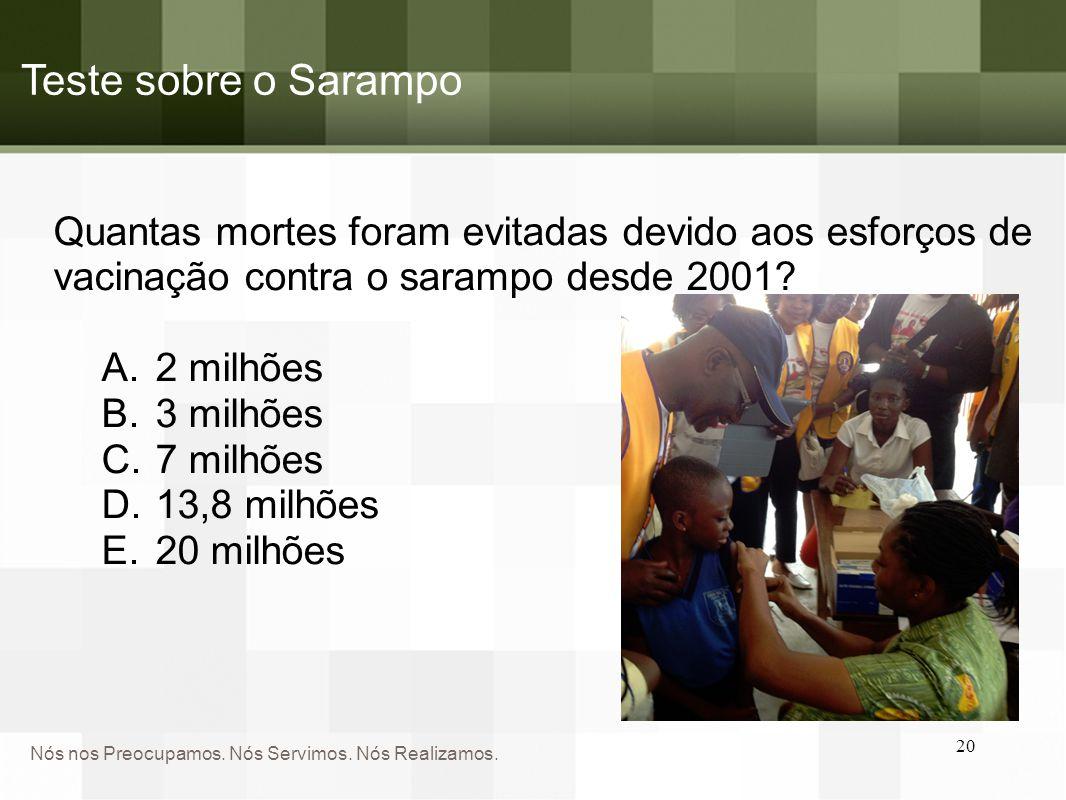 Teste sobre o Sarampo Quantas mortes foram evitadas devido aos esforços de vacinação contra o sarampo desde 2001