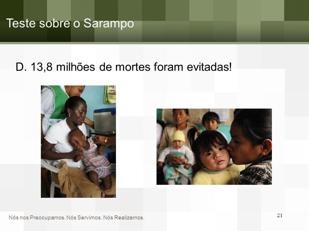 Teste sobre o Sarampo D. 13,8 milhões de mortes foram evitadas!