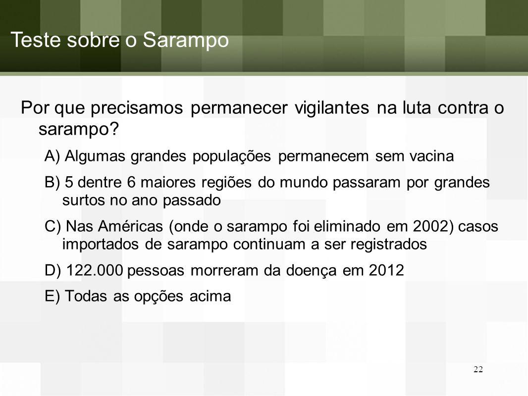 Teste sobre o Sarampo Por que precisamos permanecer vigilantes na luta contra o sarampo A) Algumas grandes populações permanecem sem vacina.
